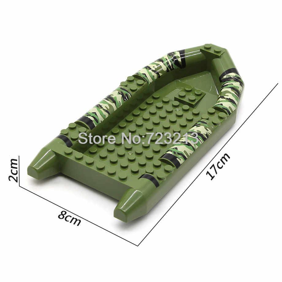 Один legoing 17 см Военный Камуфляж Лодка темно-синий подходит для SWAT рисунок набор деталей MOC Кирпич Аксессуары модель строительные блоки игрушки