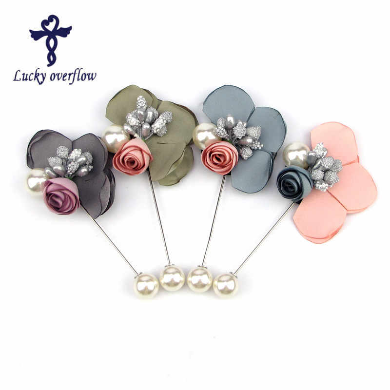 1e95558fd New Women Muslim Harlf Flower Design Created Pearl Brooch Lapel Scarf Pin  Suit Stick Brooches Wedding