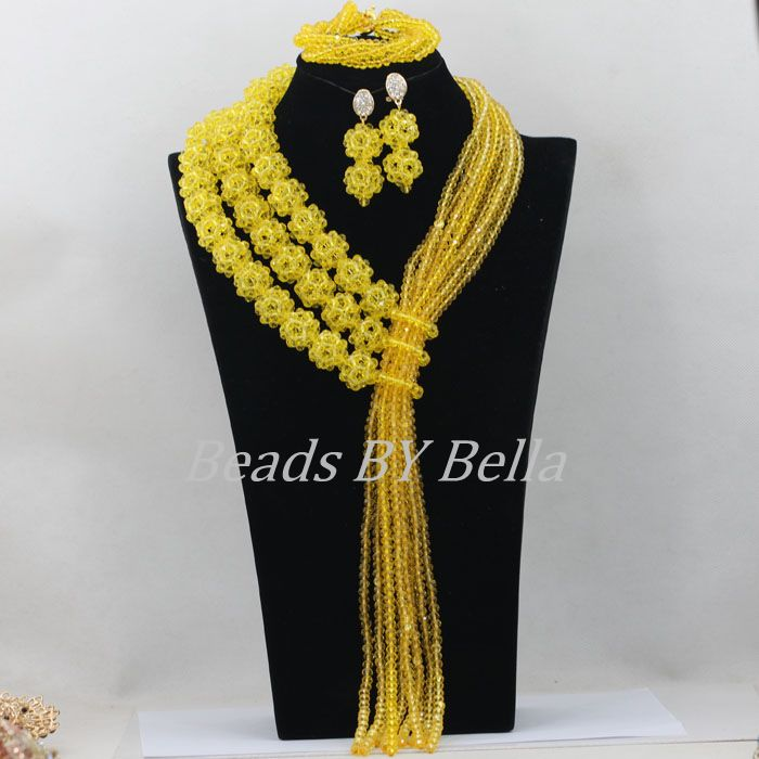 Women African Beads Jewelry Set Yellow Crystal Beads Balls Bridal Lace Jewlery Nigerian Wedding Necklace Free Shipping ABF497 цена
