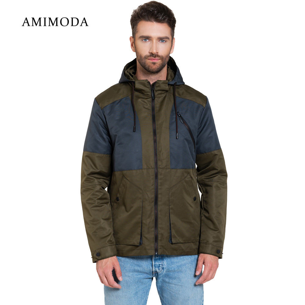 Jackets Amimoda 10016-0408 Men\'s Clothing windbreakers for men cloak jacket coat parkas hooded self tie waist solid hooded coat