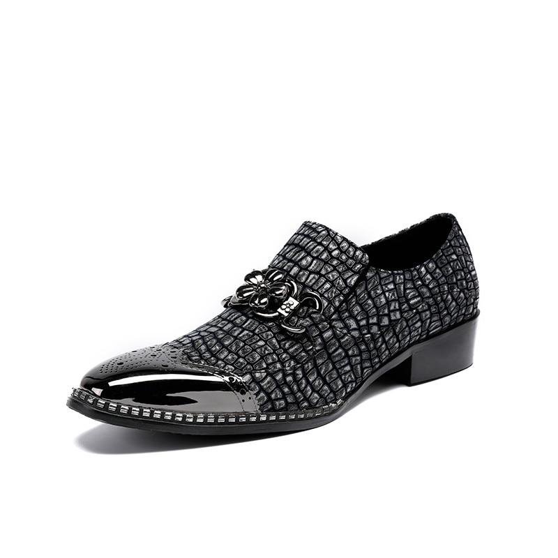 Preto Da Sapatos Vestido Masculinos Pele Negócios Homme Metal Flats Top Chaussure Homem Low Corrente Serpente Qualidade Prata De Cabeça Beertola Boa 4qvwS
