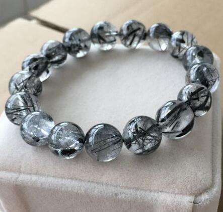 Natural Brazil 10mm Black Rutilated Quartz Crystal Beads ... Quartz Crystal Beads