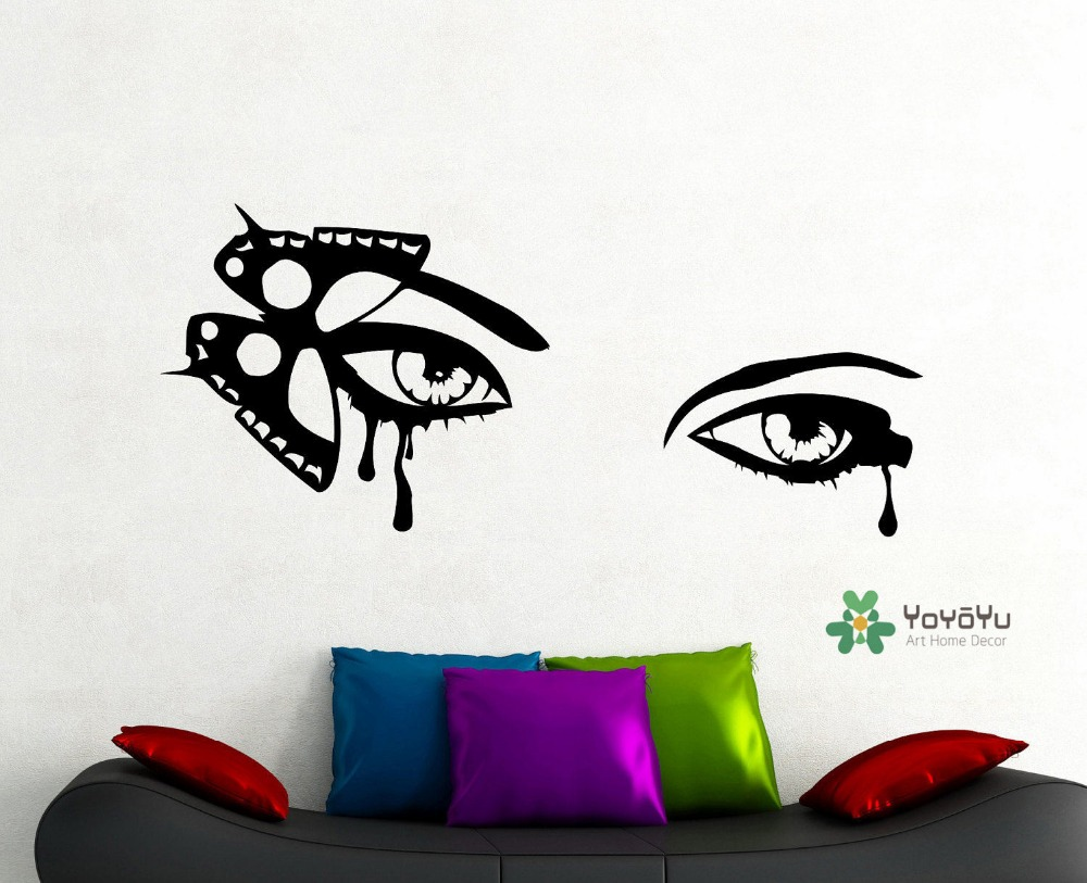 Girls Eyes Wall Decals With Butterfly Art Wall Sticker Home Room Stylish Decor Wall Decal Wall Murals Beauty Eyes Wallpaper T 27-in Wall Stickers from Home ... & Girls Eyes Wall Decals With Butterfly Art Wall Sticker Home Room ...