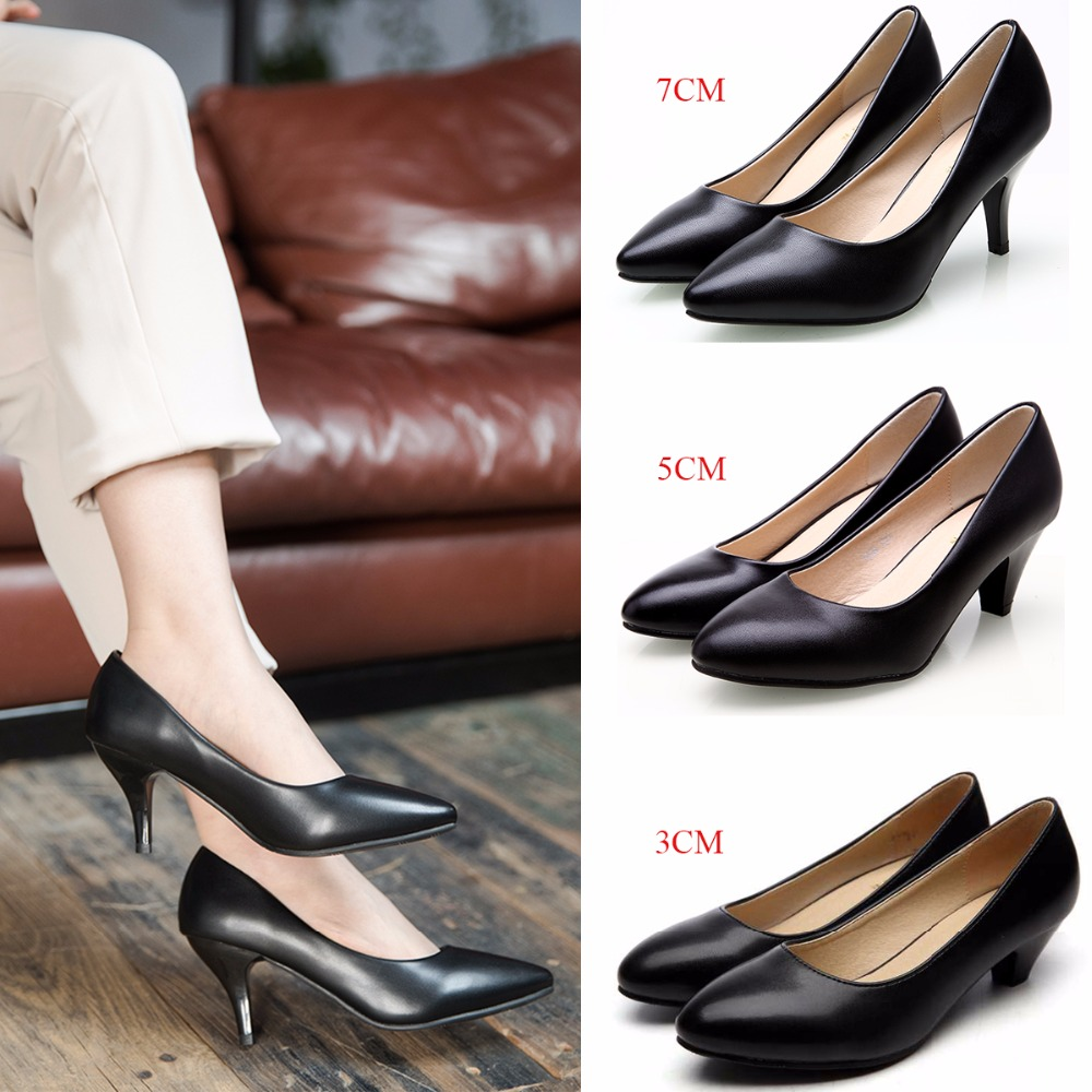 886f3dce9685 Women Pumps Thin Medium High Heels Classic Casual Women Dress Shoes Ladies  Office Shoes Pointed Toe Kitten Heels Pumps-in Women s Pumps from Shoes on  ...