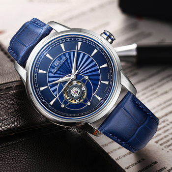 SEA-GULL Business Watches Mens Mechanical Wristwatches Blue Simple 30m Waterproof Leather Buckle Silver Gold Male 1014K