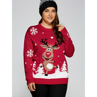 CharMma 2017 Christmas Deer Winter Sweater Warm Plus Size Snowflake Fawn Christmas Tree Women Casual XL