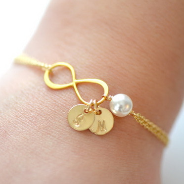 925 sterling silver dainty infinity charm and pearl bracelet friendship gold bracelet best bridesmaid