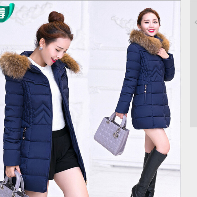 Новинка зимняя куртка женщины длинные стиль вниз и парки пальто мода тонкий свободного покроя теплый парка Большой размер H195
