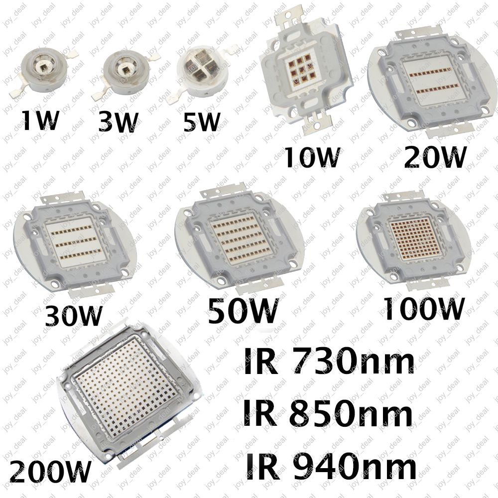 1W 3W 5W 20W 30W 50W 100W 200W High Power LED 850nm 940nm 730nm Infrared IR LED Diode, Intergrated Multi-Chip COB Light Source
