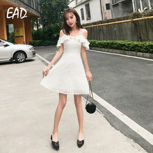EAD Sexy Summer Spaghetti Strap Elegant Tassel Dress Women Casual Off Shoulder Ruffle Sleeveless Lining Sundress Female Vestidos