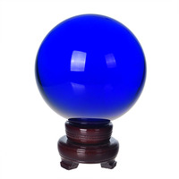 200mm Blue Crystal Ball Feng shui Magic Glass Ball with wooden base Sphere Figurines Miniatures Ornaments For Gifts Home Decor