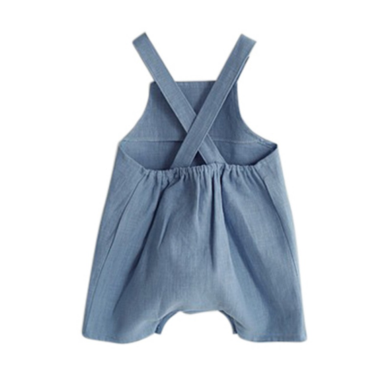 fdc2d107f885 NewestSummer Cotton Linen Baby Girl Romper Clothes Solid Suspender Overalls  Infant Boy Jumpsuit Baby Clothes M L 2 color New-in Overalls from Mother    Kids ...