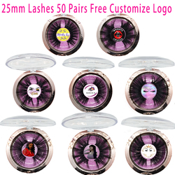Free Custom Logo 50 Pairs 25mm Eyelashes 3D Mink Lashes Handmade Dramatic Lashes cruelty free Wholesale Free DHL Shipping