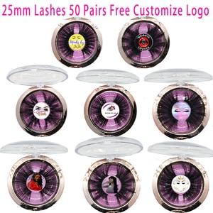 Image 1 - Free Custom Logo 50 Pairs 25mm Eyelashes 3D Mink Lashes Handmade Dramatic Lashes cruelty free Wholesale Free DHL Shipping