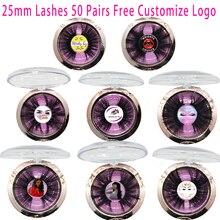 Pestañas de visón 3D, pestañas postizas hechas a mano con Logo personalizado, 50 pares, 25mm, pestañas llamativas de crueldad, venta al por mayor, envío gratuito por DHL