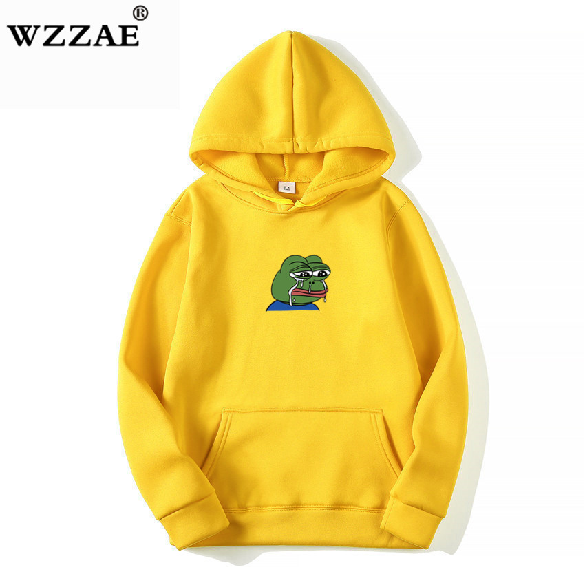 Sad Tearing Frog Print Hoodies Men/Women Hooded Sweatshirts 2019 New Harajuku Hip Hop Hoodies Sweatshirt Male Japanese Hoodie