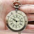 Christmas Gift 2016 Hot Roman Vintage Copper Roman Numerals Transparent Pocket Watch Clock Necklace Pendant Men Women Gift
