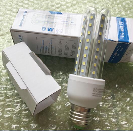 50PCS 2835 LED Bulbs U Shape bulbs E27 Base Strong light 85-265V constant curren 9W White/Warm white