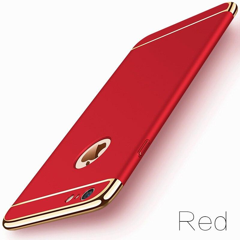 image-2-Coque téléphone Ultra Mince rigide-luxe-pour iPhone-rouge-doré