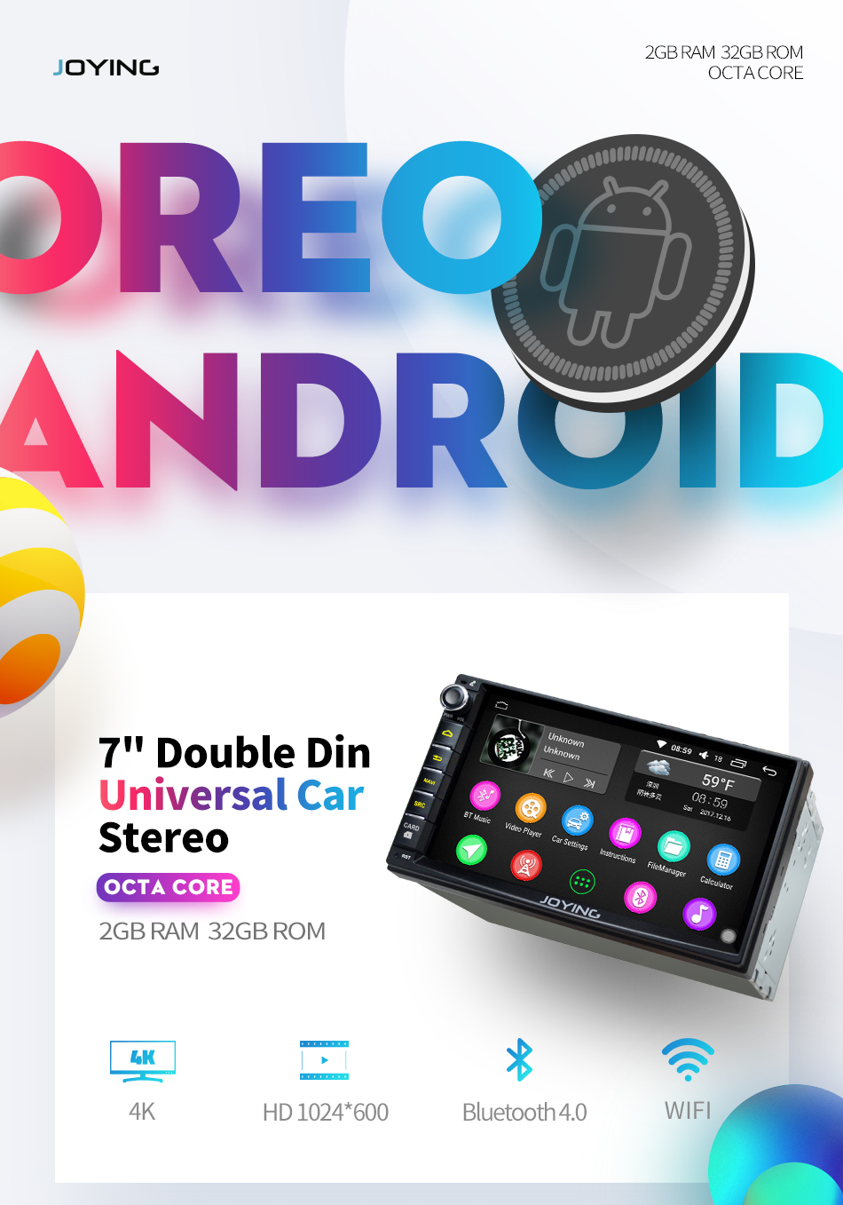 JOYING car radio stereo multimedia player double 2 din android 8.0 ...