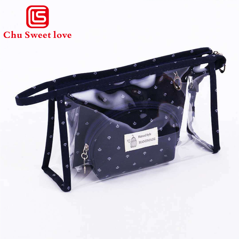 3-piece Multifunction Cosmetic Bag Storage Case Holder Zipper Portable Travel Make Up Organizer Cosmetics Container