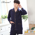 2017-The new men 's pajamas long - sleeved lapel checked cardigan cotton pajamas pajamas suit R206