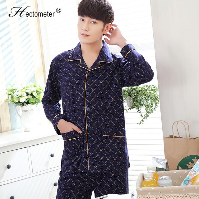 2017-The pijama dos homens novos longo-sleeved lapela verificado cardigan pijamas de algodão pijama terno R206
