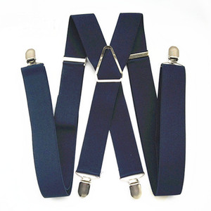 BD054-L XL XXL Size Suspenders Men Adjustable Elastic X Back Pants Women Suspender for Trousers 55 Inch Clips on NAVY BLUE