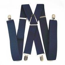 Suspensórios elásticos ajustáveis e tamanho xxl, calças masculinas e femininas de suspensório com 55 BD054-L grampos, estilo navy, Polegada azul