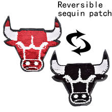 1pc OX Reversible Change Color Sequins Sew On Patches for kids boy girl clothes DIY Patch Applique Bag Crafts 20cmx23cm(China)