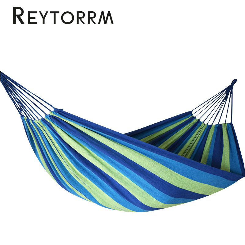 Image 3 - Double Wide Thick Canvas Hammock With Two Strap And One Carry Bag Portable Anti Tear Hamac For Outdoor Backpacking Hanging Hamak-in Hammocks from Furniture