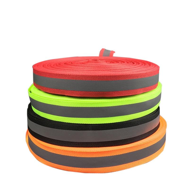 50 Meter, 2cm*1cm Width ,Fluorescent Reflection Fabric Ribbon Webbing Tape Strip Edging Braid Trim Sew On Garment Accessories
