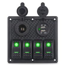 Панель переключателя с двумя usb портами для прикуривателя 12