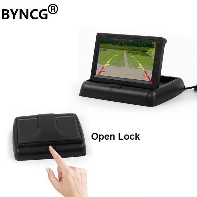 BYNCG وقوف السيارات سيارة مرآة HD 4.3 بوصة TFT LCD اللون عرض مراقب السيارة القابل للطي ل الرؤية الخلفية كاميرا للرؤية الليلية عكس