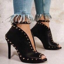 цена на 2018 new  fashion rivets fish-beak women's boots fine heel buckle show thin high-heeled high-heeled boots ankle boots for women