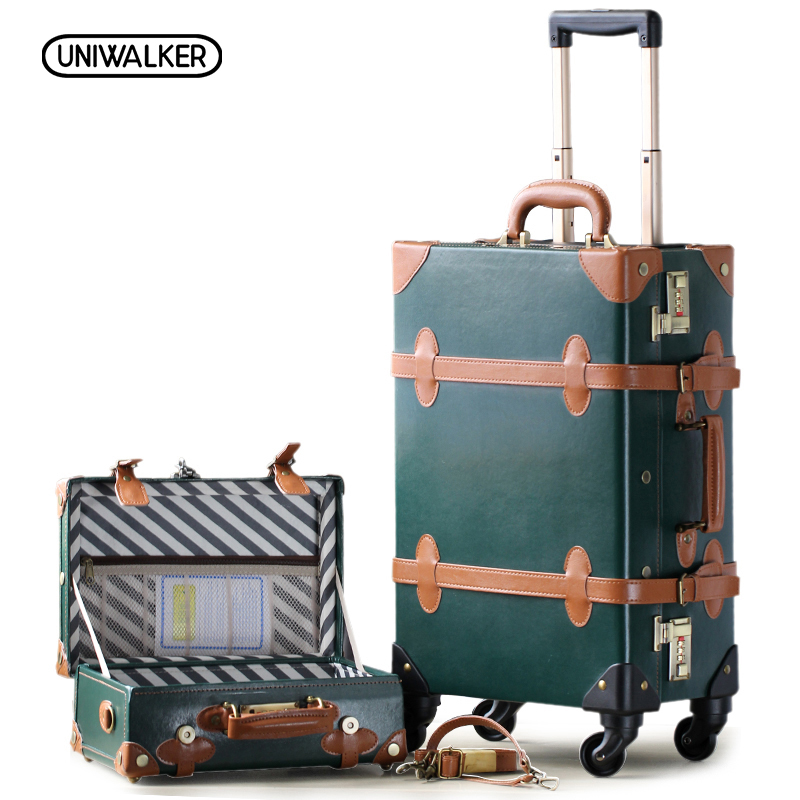 20-26 Dark Green Vintage Suitcase PU Leather Travel Suitcase , Scratch Resistant Rolling Luggage Bags With Universal Wheels