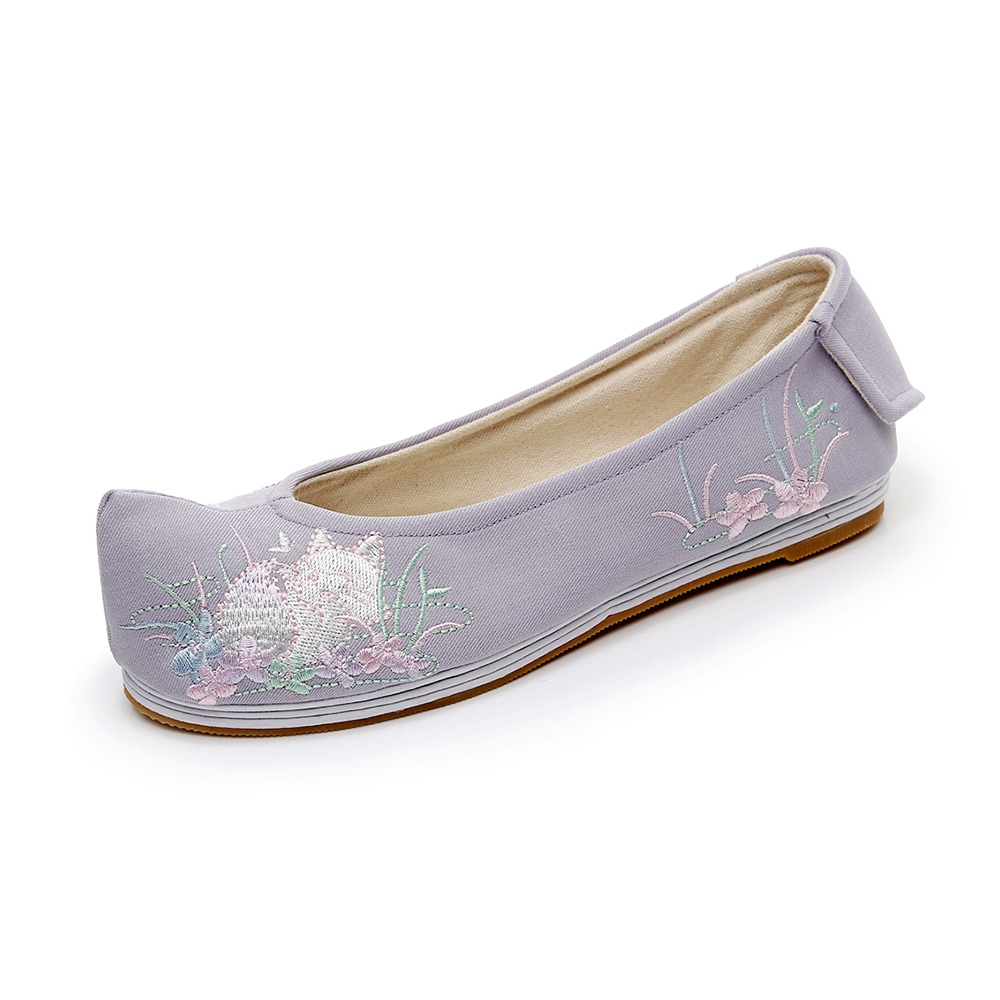 Spring Flats Women Shoes Chinese Elegant Embroidered Warped head Shoes Ballet Flats Cotton Fabric Breathable Melaleuca Qian Xun in Women 39 s Flats from Shoes
