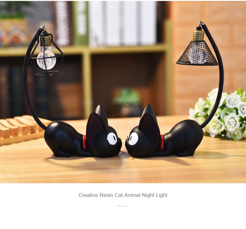 LED Night Light Creative Resin Cat Animal Night Light Ornaments Home Decoration Gift Small Cat Night Lamp (6)