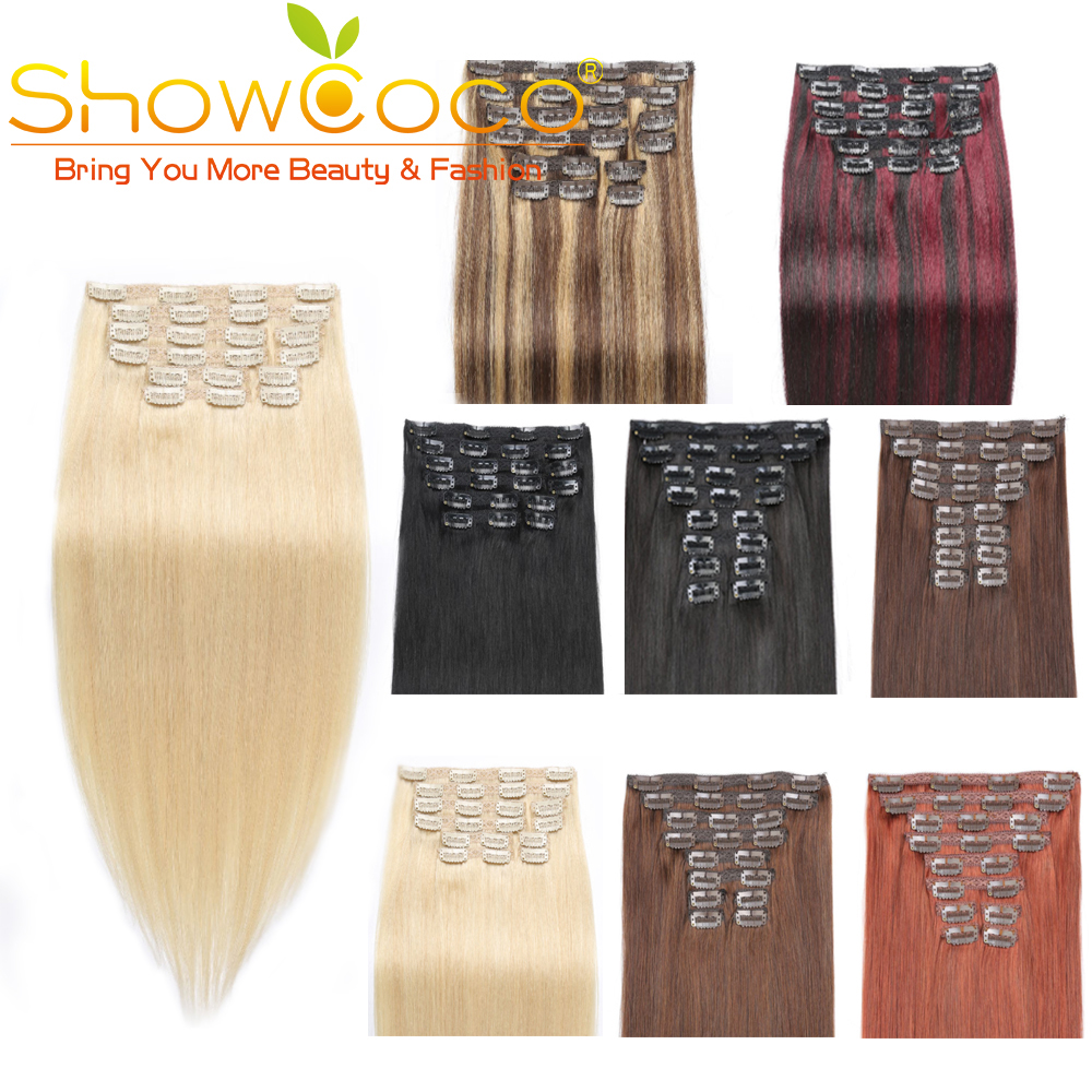 Showcoco Clip In Human  Straight Remy Hair 10pcs Full Head 16-24 Inch Remy Hair Extension
