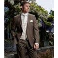 2016 por encargo de Brown hombres Wedding los trajes del novio esmoquin Formal mejor juego del hombre de negocios desgaste ( Jacket + Pants + Vest + Tie )