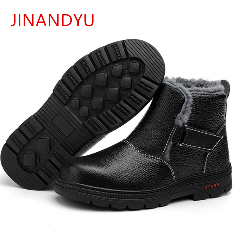 Men Work Safety Shoes Steel Toe Insole Winter Leather Work Boots For Men Non-slip Anti-static Wear-resisting Safety Boots 2019