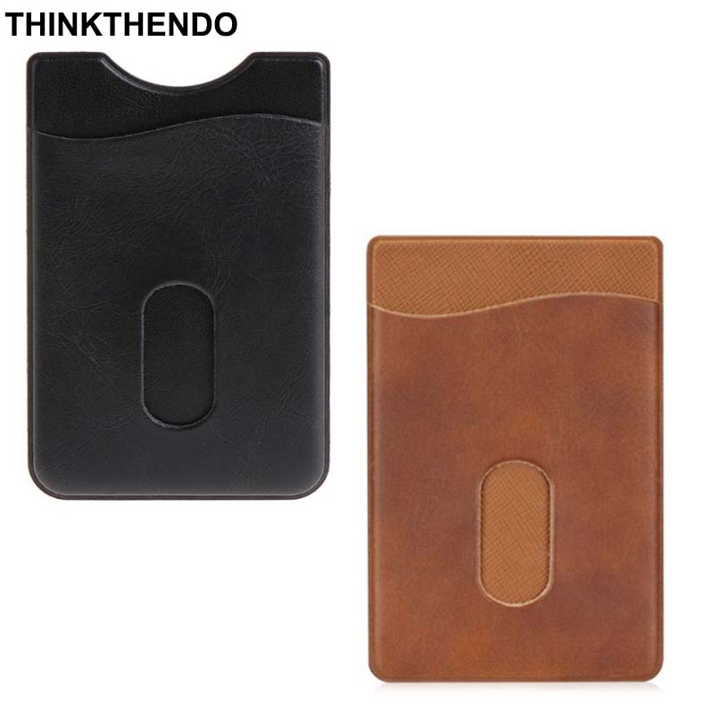 Leather Card Holder Sticker 3M Adhesives Credit ID Card Mobile Phone Back Pocket Wallet Case Stickers Bag Pouch
