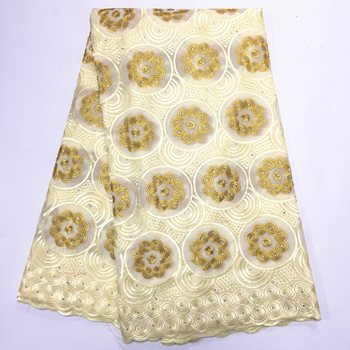African Guipure Cotton Lace Fabric Embroidery High Quality Swiss Voile Lace Fabric Nigerian Dress Swiss Voile With Stones