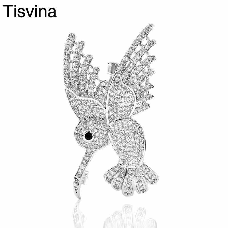 Tisvina 2018 Baru Hummingbird Bros dengan Micro Pave Cubic Zircon Lucu Hewan Bros untuk Wanita Pria Anak Pakaian Pin Perhiasan
