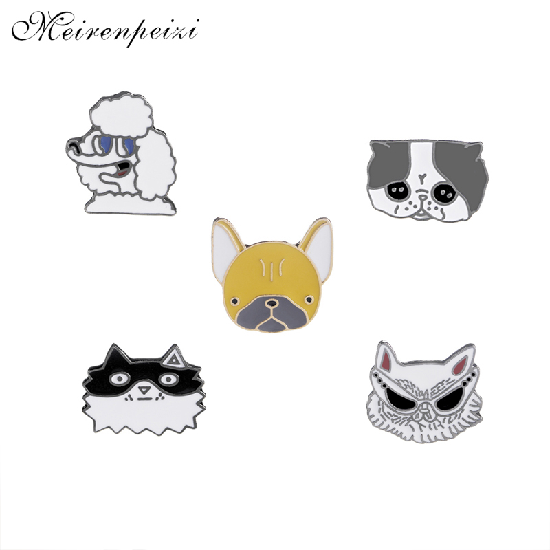Poodle Dog pins enamel metal Bulldog brooches Husky pin cool sunglasses dog lapel broches women brooch badge broche dog pet love Собака