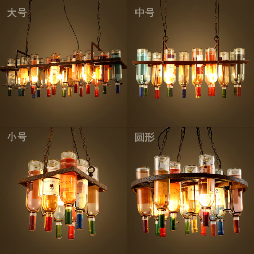 American Loft Vintage coloful glass Wine Bottle  pendent lamp for Bar Dining Room Living Room A135 loft american edison vintage industry crystal glass box wall lamp cafe bar coffee shop hall store club