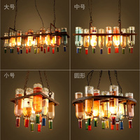 American Loft Vintage Coloful Glass Wine Bottle Pendent Lamp For Bar Dining Room Living Room A135