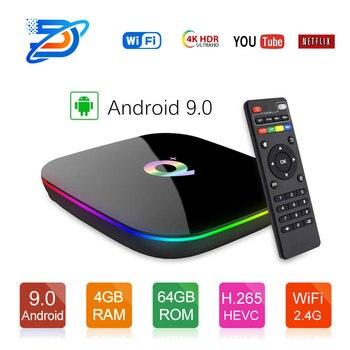 Q+ TV Box Android 9.0 Quadcore  cortex-A53 wifi 4K  4GB/32GB 4GB/64GB H.264 MVC up to 1080P 60fps PK  T95Q Youtube DDR3