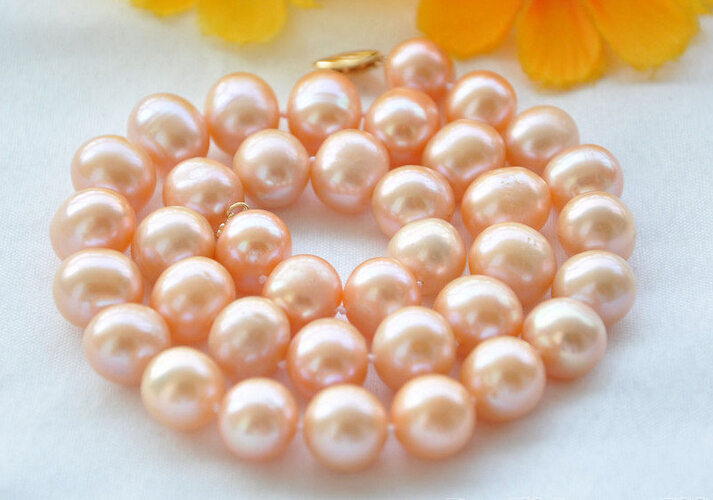 FREE shipping REAL 17 12mm ROUND pink freshwater PEARL NECKLACEFREE shipping REAL 17 12mm ROUND pink freshwater PEARL NECKLACE