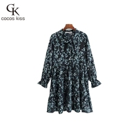 2017 Autumn Bohemian Europe Style Print Flower Lady Elegant Dress Beautiful Vacation Fashion Casual Womens Autumn